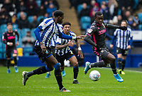 Leeds United's Edward Nketiah (right) competing with Sheffield Wednesday's Dominic Iorfa <br /> <br /> Photographer Andrew Kearns/CameraSport<br /> <br /> The EFL Sky Bet Championship - Sheffield Wednesday v Leeds United - Saturday 26th October 2019 - Hillsborough - Sheffield<br /> <br /> World Copyright © 2019 CameraSport. All rights reserved. 43 Linden Ave. Countesthorpe. Leicester. England. LE8 5PG - Tel: +44 (0) 116 277 4147 - admin@camerasport.com - www.camerasport.com