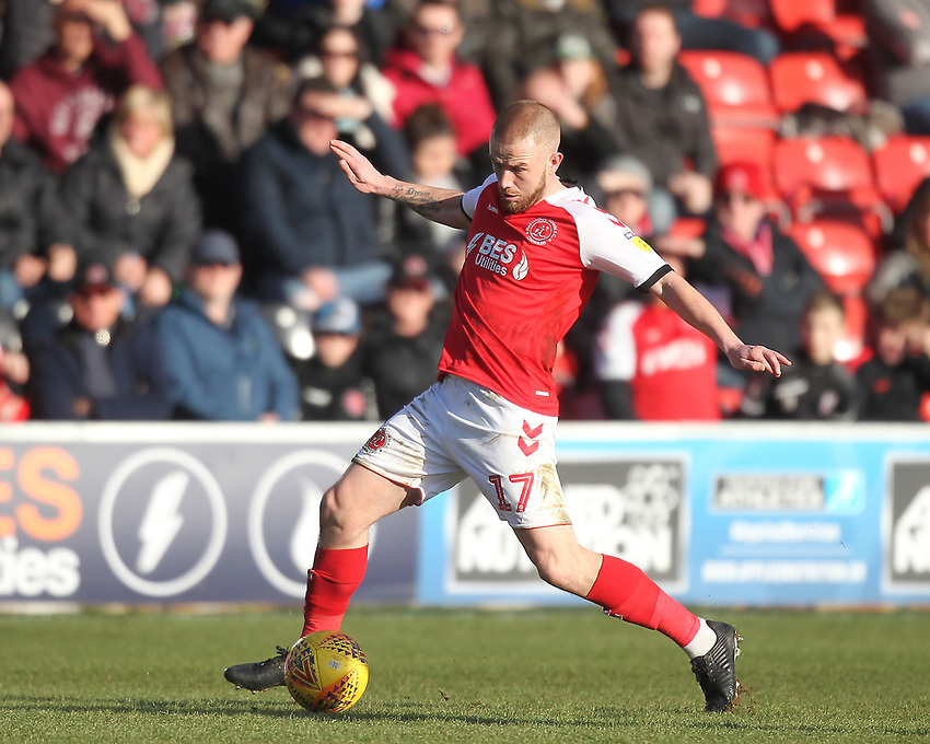 Fleetwood Town's Paddy Madden <br /> <br /> Photographer Mick Walker/CameraSport<br /> <br /> The EFL Sky Bet League One - Fleetwood Town v Luton Town - Saturday 16th February 2019 - Highbury Stadium - Fleetwood<br /> <br /> World Copyright © 2019 CameraSport. All rights reserved. 43 Linden Ave. Countesthorpe. Leicester. England. LE8 5PG - Tel: +44 (0) 116 277 4147 - admin@camerasport.com - www.camerasport.com