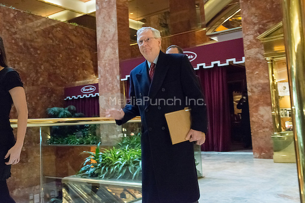 Senate Majority Leader Mitch McConnell is seen upon his arrival at Trump Tower in New York, NY, USA on January, 9, 2017.<br /> Credit: Albin Lohr-Jones / Pool via CNP /MediaPunch