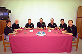 The STS-95 crew gathers at their traditional pre-launch breakfast in the Operations and Checkout Building at Cape Canaveral, Florida on October 29, 1998. Seated from left are Payload Specialist Chiaki Mukai, (M.D., Ph.D.), with the National Space Development Agency of Japan (NASDA), Payload Specialist John H. Glenn Jr., senator from Ohio, Pilot Steven W. Lindsey, Mission Commander Curtis L. Brown Jr., Mission Specialist Stephen K. Robinson, Mission Specialist Pedro Duque of Spain, representing the European Space Agency (ESA), and Mission Specialist Scott E. Parazynski. Targeted for launch at 2 p.m. EST on Oct. 29, the mission is expected to last 8 days, 21 hours and 49 minutes, and return to KSC at 11:49 a.m. EST on Nov. 7, 1998. The STS-95 mission includes research payloads such as the Spartan solar-observing deployable spacecraft, the Hubble Space Telescope Orbital Systems Test Platform, the International Extreme Ultraviolet Hitchhiker, as well as the SPACEHAB single module with experiments on space flight and the aging process.Credit: NASA via CNP