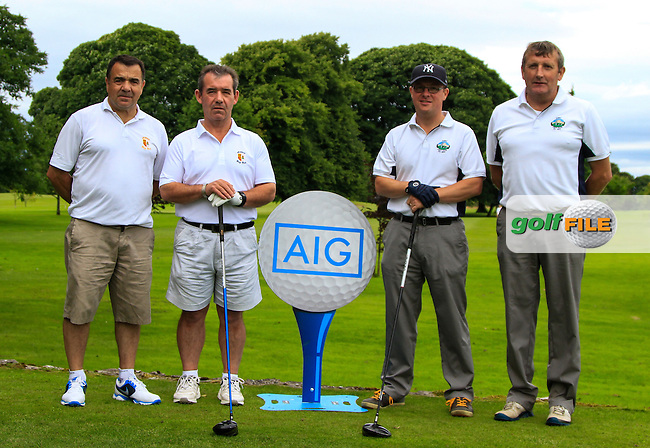 Kevin Maguire &amp; Frank Donnolly (Athlone) and Ger Connors &amp; Michael Ryan (Gort) at the 1st tee during the AIG Connacht Pierce Purcell Shield Semi-Finals of the AIG Connacht Cups &amp; Shields Finals 2016 at Ballinrobe Golf Club, Ballinrobe Co. Mayo on Saturday 6th August 2016.<br /> Picture:  Golffile | Thos Caffrey<br /> <br /> All photos usage must carry mandatory copyright credit   (&copy; Golffile | Thos Caffrey)