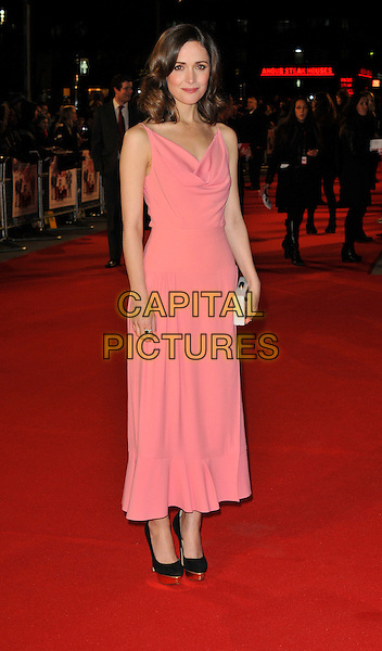 Rose Byrne.attends the UK Premiere of 'I Give It A Year', Vue West End cinema, London, England, UK, 24th January 2013..full length dress sleeveless clutch bag white draped cowl neck black shoes pink gold platform shoes heels .CAP/WIZ.© Wizard/Capital Pictures.