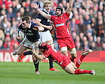 Stuart Hogg of Scotland tackled by Leigh Halfpenny of Wales - RBS 6Nations 2015 - Scotland  vs Wales - BT Murrayfield Stadium - Edinburgh - Scotland - 15th February 2015 - Picture Simon Bellis/Sportimage