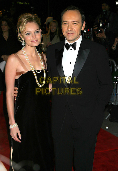 "KATE BOSWORTH & KEVIN SPACEY.""Beyond The Sea"" New York Premiere,. Ziegfeld Theatre, New York City, New York, USA,.December 8th 2004..half length pearl necklace pearls beads black dress.Ref: IW.www.capitalpictures.com.sales@capitalpictures.com.©Capital Pictures."