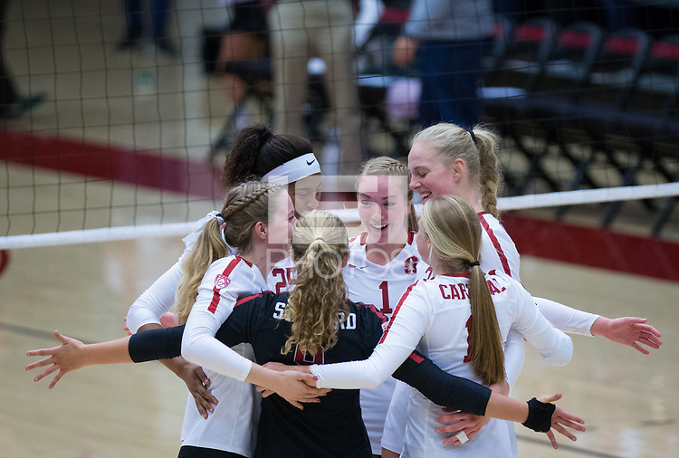 STANFORD, CA - October 12, 2018: Jenna Gray, Kathryn Plummer, Courtney Bowen, Meghan McClure, Morgan Hentz, Kate Formico at Maples Pavilion. No. 2 Stanford Cardinal swept No. 21 Washington State Cougars, 25-15, 30-28, 25-12.