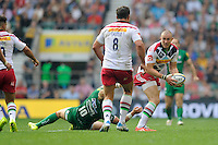 Mike Brown of Harlequins looks for support from Nick Easter of Harlequins during the Premiership Rugby Round 1 match between London Irish and Harlequins at Twickenham Stadium on Saturday 6th September 2014 (Photo by Rob Munro)