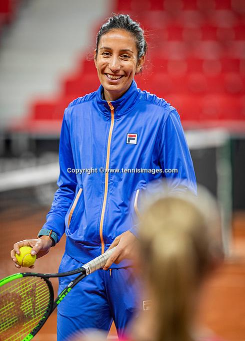 The Hague, The Netherlands, Februari 4, 2020,  Sportcampus , FedCup  Netherlands - Balarus, Dutch team practise, coach of Kiki Bertens: Elise Tamaela.<br /> Photo: Tennisimages/Henk Koster
