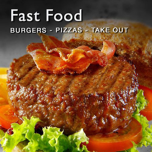 Food pictures & images of fast take out food including burgers, pizzas