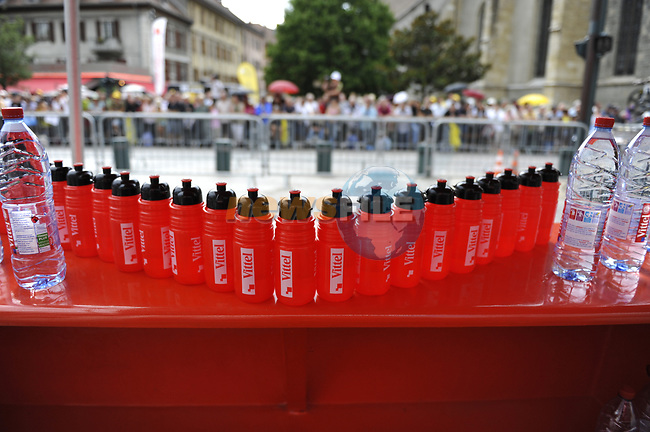 Vittel water station at the start of Stage 18 of the Tour de France 2009 an individual time trial running 40.5km around Lake Annecy, France. 23rd July 2009 (Photo by Eoin Clarke/NEWSFILE)