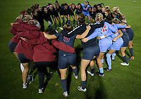 STANFORD, CA - August 24, 2018: Huddle at Laird Q. Cagan Stadium. The Stanford Cardinal defeated the USF Dons 5-1.