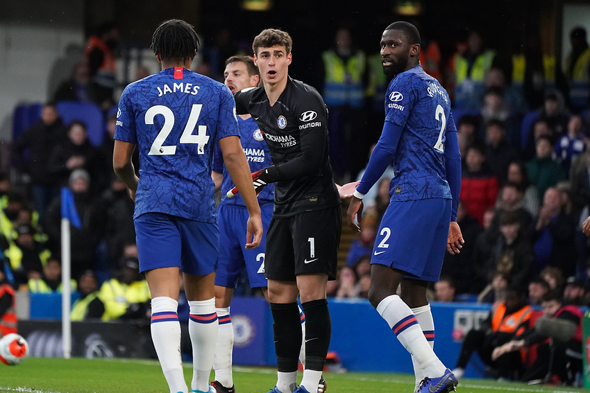 Chelsea's Kepa Arrizabalaga shouts instructions at teammate Reece James<br /> <br /> Photographer Stephanie Meek/CameraSport<br /> <br /> The Premier League - Chelsea v Everton - Sunday 8th March 2020 - Stamford Bridge - London<br /> <br /> World Copyright © 2020 CameraSport. All rights reserved. 43 Linden Ave. Countesthorpe. Leicester. England. LE8 5PG - Tel: +44 (0) 116 277 4147 - admin@camerasport.com - www.camerasport.com
