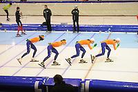 SCHAATSEN: HEERENVEEN: IJsstadion Thialf, 15-11-2012, World Cup Training, Seizoen 2012-2013, Marije Joling, Ireen Wüst, Diane Valkenburg, Marrit Leenstra, ©foto Martin de Jong