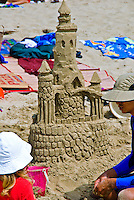Santa Monica, CA, Beach, Activities, Building a Tall Sand Castle, California, USA,