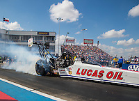 Oct 15, 2016; Ennis, TX, USA; NHRA top fuel driver Richie Crampton during qualifying for the Fall Nationals at Texas Motorplex. Mandatory Credit: Mark J. Rebilas-USA TODAY Sports