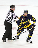 The linesmen did a lot of escorting whether to the team benches or the penalty box during the game - Brandon Sadlowski (Merrimack - 22). - The Boston University Terriers defeated the Merrimack College Warriors 6-4 on Saturday, November 14, 2009, at Agganis Arena in Boston, Massachusetts.