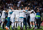 Team members of Real Madrid celebrate after the UEFA Champions League Semi-final 2nd leg match between Real Madrid and Bayern Munich at the Estadio Santiago Bernabeu on May 01 2018 in Madrid, Spain. Photo by Diego Souto / Power Sport Images