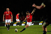 Leigh Halfpenny kicks for goal during the 2017 DHL Lions Series rugby union match between the NZ Maori and British & Irish Lions at Rotorua International Stadium in Rotorua, New Zealand on Saturday, 17 June 2017. Photo: Dave Lintott / lintottphoto.co.nz