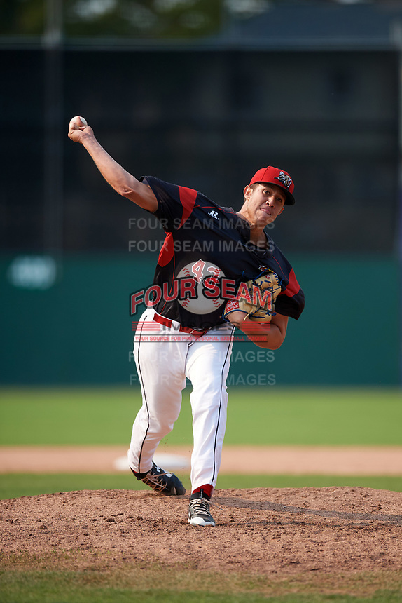 Batavia Muckdogs starting pitcher Osman Gutierrez (43) delivers a pitch during the second game of a doubleheader against the Mahoning Valley Scrappers on September 4, 2017 at Dwyer Stadium in Batavia, New York.  Mahoning Valley defeated Batavia 6-2.  (Mike Janes/Four Seam Images)