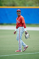 GCL Phillies West left fielder Luis Matos (25) during a game against the GCL Blue Jays on August 7, 2018 at Bobby Mattick Complex in Dunedin, Florida.  GCL Blue Jays defeated GCL Phillies West 11-5.  (Mike Janes/Four Seam Images)