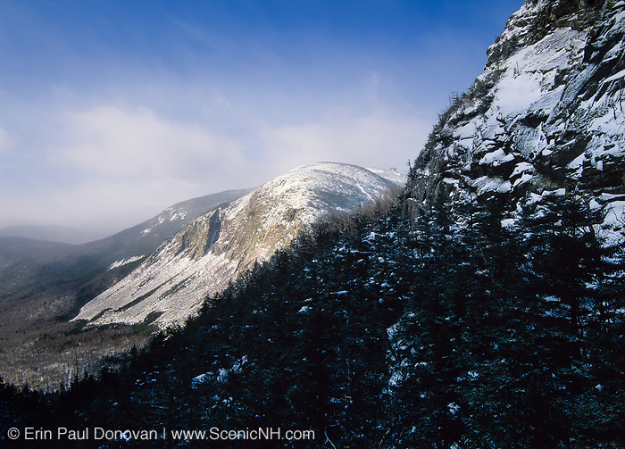 Franconia Notch State Park - Cannon Cliffs, which is on the side of Cannon Mountain, from Greenleaf Trail in the White Mountain National Forest of New Hampshire.