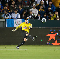 CARSON, CA – April 2, 2011: Philadelphia Union goalie Faryd Monodragon (1) kicks the ball into play during the match between LA Galaxy and Philadelphia Union at the Home Depot Center, March 26, 2011 in Carson, California. Final score LA Galaxy 1, Philadelphia Union 0.
