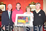 PRESIDENT PRIZE: Philip O'Sullivan winner of the Meadowlands Golf Society president prize with Peggy O'Mahony the proprietor of the Meadowlands hotel, Tralee at the hotel on Saturday l-r: Tim Scanell (president), Philip O'Sullivan, Peggy O'Mahony and Billy Daly (captain).