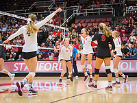 STANFORD, CA - October 12, 2018: Meghan McClure, Jenna Gray, Holly Campbell, Morgan Hentz at Maples Pavilion. No. 2 Stanford Cardinal swept No. 21 Washington State Cougars, 25-15, 30-28, 25-12.