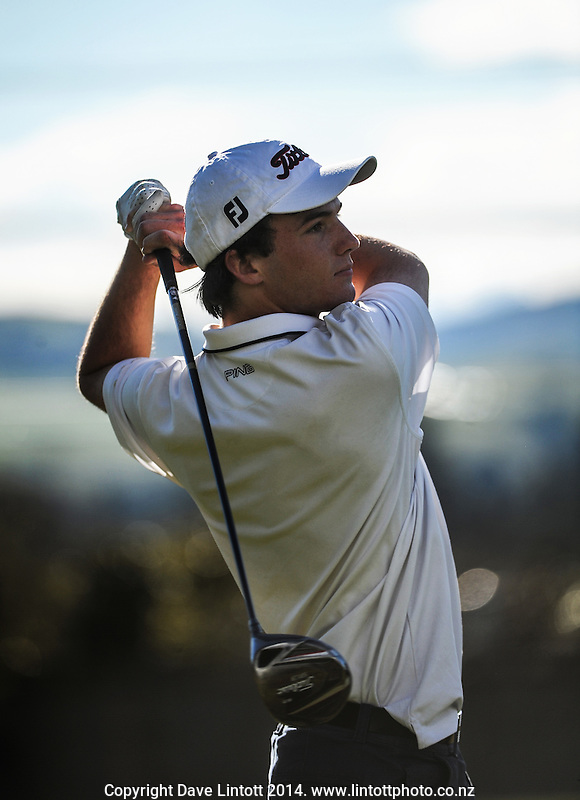 Brayden Mazey in action during day one of the New Zealand Age Group Championship at Taupo Golf Club, Taupo, New Zealand on Tuesday, 3 September 2014. Photo: Dave Lintott / lintottphoto.co.nz