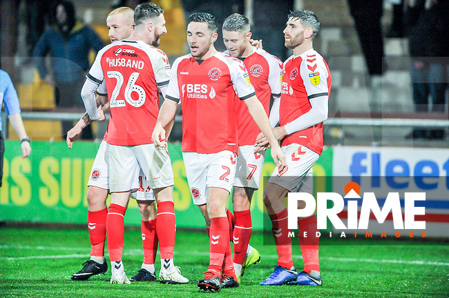 Fleetwood Town's forward Wes Burns (7) met by his teammates as he puts them 2-0 up during the Sky Bet League 1 match between Fleetwood Town and Coventry City at Highbury Stadium, Fleetwood, England on 27 November 2018. Photo by Stephen Buckley / PRiME Media Images.
