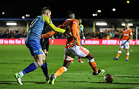 Blackpool's Joe Dodoo competing with Solihull Moors'  Luke Maxwell<br /> <br /> Photographer Andrew Kearns/CameraSport<br /> <br /> The Emirates FA Cup Second Round - Solihull Moors v Blackpool - Friday 30th November 2018 - Damson Park - Solihull<br />  <br /> World Copyright © 2018 CameraSport. All rights reserved. 43 Linden Ave. Countesthorpe. Leicester. England. LE8 5PG - Tel: +44 (0) 116 277 4147 - admin@camerasport.com - www.camerasport.com