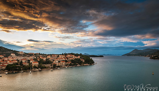 Dusk on the Croatian coast near Dubrovnik