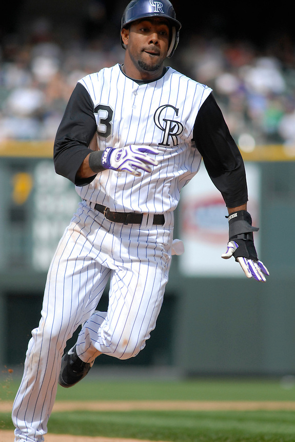 Colorado Rockies outfielder Willy Taveras successfully steals 3rd base against the Minnesota Twins. The Rockies defeated the Twins 6-2 at Coors Field in Denver, Colorado on May 18, 2008. FOR EDITORIAL USE ONLY. FOR EDITORIAL USE ONLY