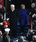 Washington, DC - January 20, 2009 -- Former United States President Bill Clinton and Senator Hillary Clinton arrive for the inauguration of Barack Obama as the 44th President of the United States on the west steps of the Capitol on Tuesday, January 20, 2009..Credit: Pat Benic - Pool via CNP