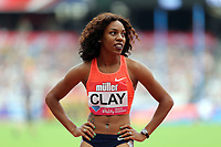 Raven Clay of USA competes in the womenís 100 metres hurdles during the Muller Anniversary Games at The London Stadium on 9th July 2017