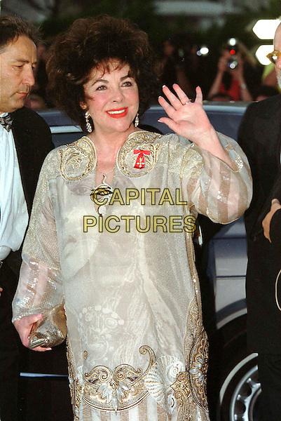 ELIZABETH TAYLOR.AMFAR Night, 53rd Annual Cannes Film Festival.Ref: Boulet Lheritier.half length, half-length, waving.www.capitalpictures.com.sales@capitalpictures.com.©Capital Pictures