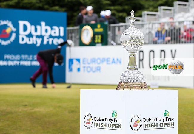 View of the Trophy and first tee during Round Three of the 2015 Dubai Duty Free Irish Open Hosted by The Rory Foundation at Royal County Down Golf Club, Newcastle County Down, Northern Ireland. 30/05/2015. Picture David Lloyd | www.golffile.ie