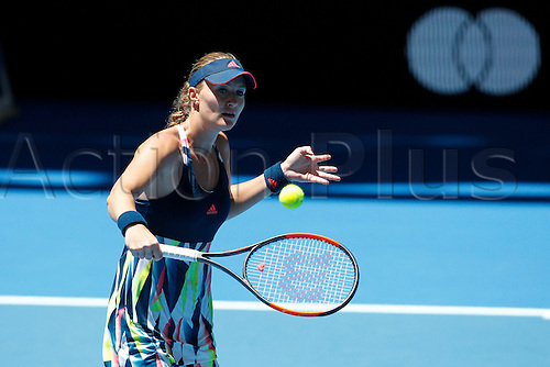 04.01.2017. Perth Arena, Perth, Australia. Mastercard Hopman Cup International Tennis tournament. Kristina Mladenovic (FRA) plays a volley at the net during her match against Heather Watson (ENG). Mladenovic won 6-4, 5-7, 6-3.