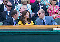 Wimbledon Chairman Phillip Brook in discussion with Katherine and William, Duchess and Duke of Cambridge in the Royal Box during the Gentlemen's Final