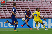 1st October 2017, Camp Nou, Barcelona, Spain; La Liga football, Barcelona versus Las Palmas; Jordi Alba of FC Barcelona passes the ball beyond Rocha Machado as the game is played behind closed doors due to the riots in Barcelona during the Catlaonio referendum