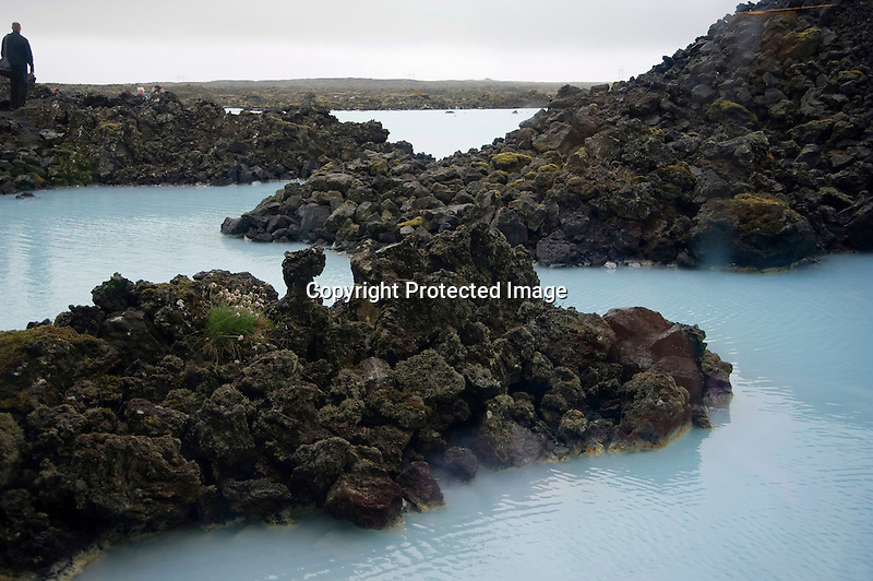 Craggy Lava Formations and Blue Water at Blue Lagoon on Reykjanes Peninsula in South Iceland
