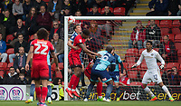 Will De Havilland of Wycombe Wanderers heads clear during the Sky Bet League 2 match between Leyton Orient and Wycombe Wanderers at the Matchroom Stadium, London, England on 1 April 2017. Photo by Andy Rowland.