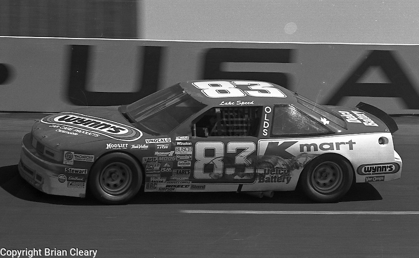 Lake Speed competes in the Transouth 500 at Darlington Raceway in Darlington, SC on March 20, 1988. (Photo by Brian Cleary/www.bcpix.com)