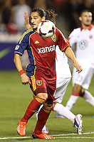 Devon Sandoval #49 of Real Salt Lake moves the ball down field during a game against of D.C. United during the first half of the U.S. Open Cup Final on October  1, 2013 at Rio Tinto Stadium in Sandy, Utah.