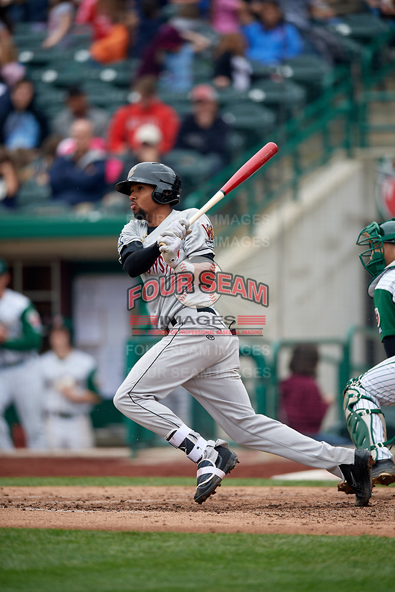 Wisconsin Timber Rattlers third baseman Jose Cuas (1) follows through on a swing during a game against the Fort Wayne TinCaps on May 10, 2017 at Parkview Field in Fort Wayne, Indiana.  Fort Wayne defeated Wisconsin 3-2.  (Mike Janes/Four Seam Images)