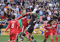 Chicago FIre goal keeper Andrew Dykstra (40) goes up to defend the play during a free kick. The Chicago Fire defeated DC United 2-0 at RFK Stadium, Saturday April 17, 2010.