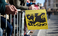 the RVV symbol: the flemish lion flag<br /> <br /> 99th Ronde van Vlaanderen 2015