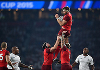 Geoff Parling of England claims the ball in the air. Rugby World Cup Pool A match between England and Fiji on September 18, 2015 at Twickenham Stadium in London, England. Photo by: Patrick Khachfe / Onside Images