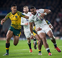 Twickenham, United Kingdom, Saturday, 24th  November 2018, RFU, Rugby, Stadium, England, Right, Joe COKANASIGA, running on the wing,  and Australian Fullback, Israel Folau, during  the Quilter Autumn International, England vs Australia, © Peter Spurrier