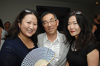 Juliana Kim, John Yoon, Sandy Yi==<br /> LAXART 5th Annual Garden Party Presented by Tory Burch==<br /> Private Residence, Beverly Hills, CA==<br /> August 3, 2014==<br /> ©LAXART==<br /> Photo: DAVID CROTTY/Laxart.com==