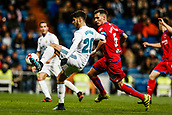 10th January 2018, Santiago Bernabeu, Madrid, Spain; Copa del Rey football, round of 16, 2nd leg, Real Madrid versus Numancia; Marco Asensio (Real Madrid) controls the high ball